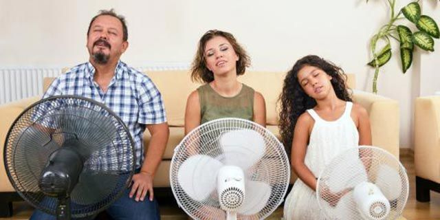 Family keeping cool